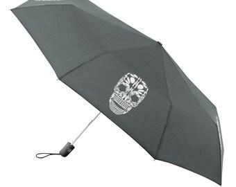 Umbrella Compact Folding Auto Open Close Skull Gray - Under NY Sky