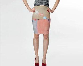 Pink Pencil Skirt, Pink and Blue Skirt Fitted Skirt Abstract Skirt Wearable Art Skirt Modern Skirt Knee Length Womens Clothing Womens Skirts
