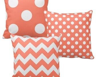 Coral Pillow Cover, Salmon Pillow, Coral Pink Throw Pillows, Chevron Pillow, Polka Dot Pillow, Sofa Pillows, Shabby Chic Decorative Pillows