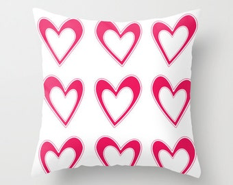 Fuchsia and White Decorative Pillows, Colorful Throw Pillow, Hot Pink Heart Pillow, Patio Cushions, Summer Pillow, Outdoor Pillow Covers