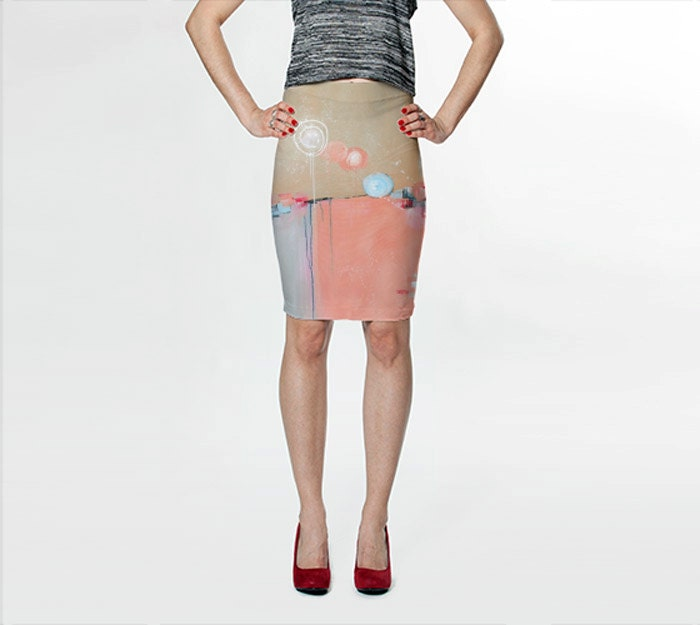 pink pencil skirt pink and blue skirt fitted skirt abstract