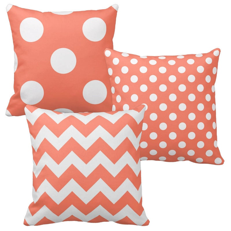 Coral Pink Throw Pillows : Coral Pillow Cover Salmon Pillow Coral Pink Throw Pillows