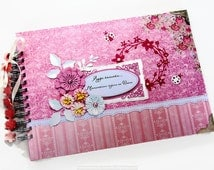 Personalized Bridal Shower Scrapbook Album, Hen Party Photo Book, Custom Bridal Shower Photo Album, Pink and Mint Scrapbook Album