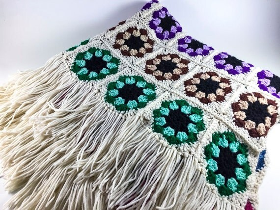 Vintage Crochet Handmade Purple Orange Blue Afghan Blanket With Fringe