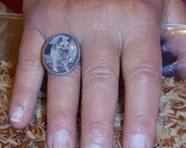 Made to Order Antique Silver Ring, 7.5 ring size adjustable up to a 10, customize with your own photograph, one of a kind gift, unique