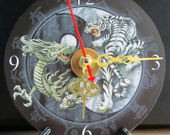 Brand New Awesome Dragon Tiger Yin Yang CD Clock Nice!!