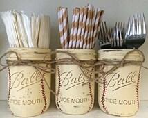 Baseball Painted Mason Jars - Baby Boy Nursery - Baseball Nursery - Baby Shower - Sports Theme Birthday Decor - Sports Nursery - Centerpiece