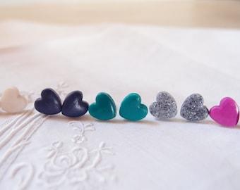 Heart Earrings-lobe earrings-polymer ceramic earrings-Romantic heart earrings-link earrings-cheap Christmas gift