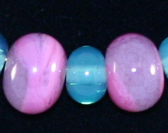 Scrumptious set of handmade, ready for Spring beads in pink and green.