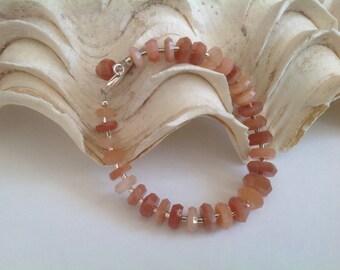 Peach Moonstone, Bracelet, Sterling Silver, Gift