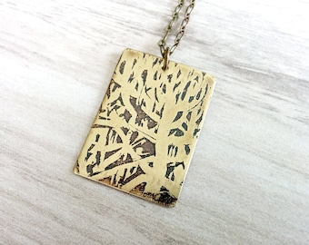 Etched Brass Pendant, Antiqued Brass Necklace, Etched Brass Jewelry, Oxidized Brass Pendant Necklace