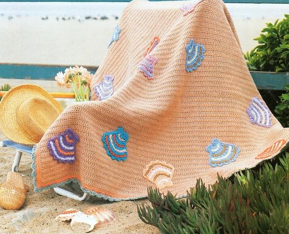 Seashells Beach Ocean Afghan Crochet Pattern Summer Ocean
