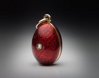 Vintage Guilloche Enamel Egg Pendant