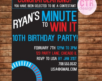 Minute To Win It Printable Birthday Invitation