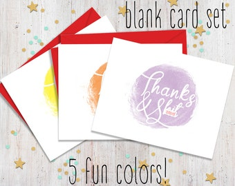 Set of 5 Mature Thanks and Sht - Funny Note Cards - Fun Stationary - Blank Note Cards - Note Card Set - FourLetterWordCards