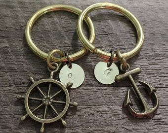 Couples initial keychain, Anchor Rudder keychains for couples, his hers, Personalized couples keyring for boyfriend girlfriend, wife husband
