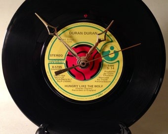 """Recycled DURAN DURAN 7"""" Record • Song: Hungry Like The Wolf • Record Clock"""