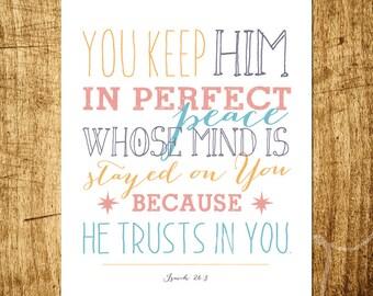 "Isaiah 26:3 - Perfect Peace - Scripture Art - 8x10"" Digital Print - Instant Download"