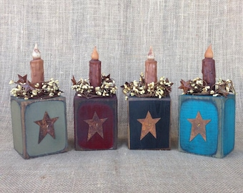 Wood Candle Block Holder with Rusty Tin Star and pip berries