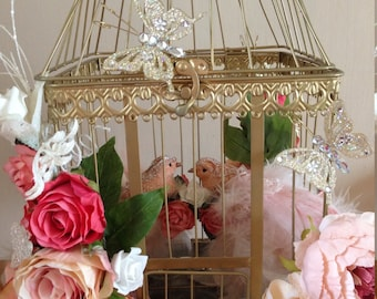 Beautiful Gold Bird Cage Decoration, Bird Cage Centrepirce, Centrepiece Decoration With Light