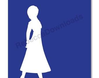 Anna Blue Frozen Silhouette Print Decor Printable Print Digital Download Print 8x10 INSTANT DOWNLOAD
