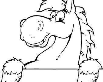 Cute horse outline machine embroidery design