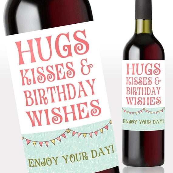 Hugs & Kisses Birthday Wishes Wine Label By MiLabelStudios