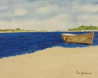 Framework, Oil Painting, boat, sea, ocean, horizon, beach, bushes