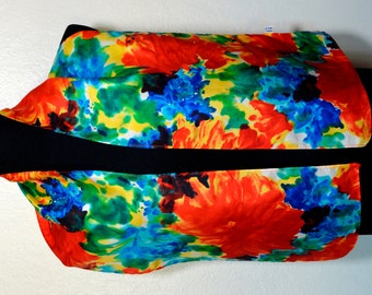 Vintage summer colors silk scarf, colorful silk scarf