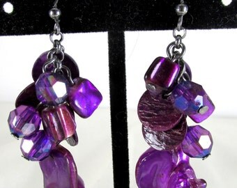 Vintage 1980' Dangle Purple Cluster Earrings