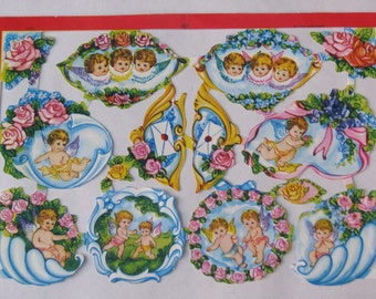 Vintage English paper scraps angels cherubs romantic 1970s 1980s sheet MLP 1591