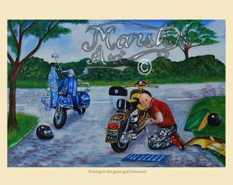 Scooter painting,lambretta and vespa art print, skinhead repairs scooter,scooter art by marshys art, scooter gift.