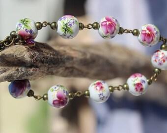 Magenta Floral Porcelain Bead Bracelet