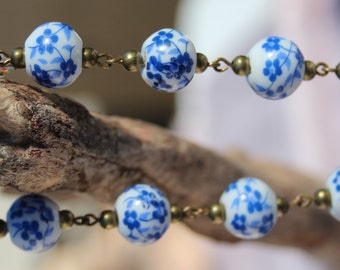 Blue and White Floral Porcelain Tea Bracelet