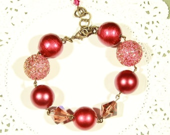 Burgundy Wine Sixty's Style Bracelet