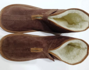 Men's Leather slippers, Sheepskin slippers. wool, slippers, shoes, boots, Very light and comfy! Good gift! Genuine leather.