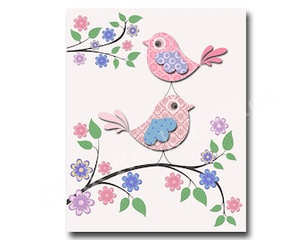 Pink bird nursery decor, kids room decor, play room decor, nursery wall decor baby girl room wall decor, baby girl room wall art nursery art