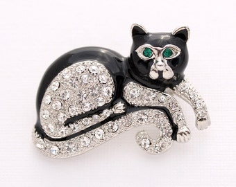 Cat Brooch Crystal Black Cat Broach Jewelry Kitty Cat Brooches Gift for Cat Lover Embellishment