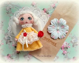 Handmade doll. Gaft girl. Interior textile art doll. rag doll. cloth doll.