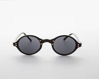 Oval Black Vintage Sunglasses with Gold Studs NOS-HARLEY