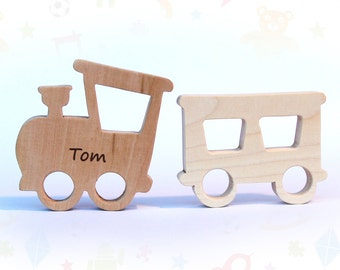 wooden teether locomotive and train car, baby toy, personalized wood toy, natural