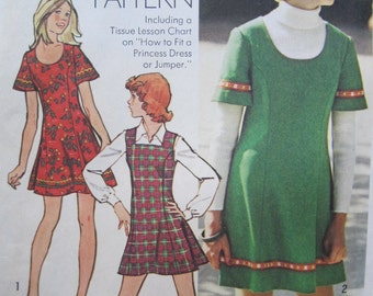 UNCUT Young Junior/Teens and Misses' Short Dress or Jumper -  Size 9/10 - Simplicity Sewing Pattern 5853 - Vintage 1970's