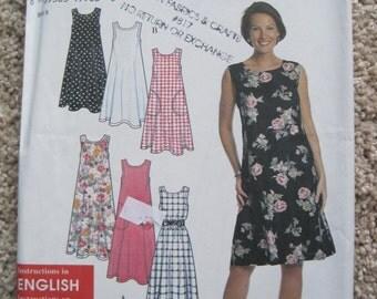UNCUT Misses Dress or Jumper - Size XSmall, Small, Medium, Large, XLarge - Simplicity Pattern 7541