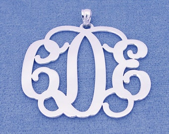 Solid Sterling Silver 3 Initials Monogram Pendant Necklace Jewelry 1 1/2 inch SM33