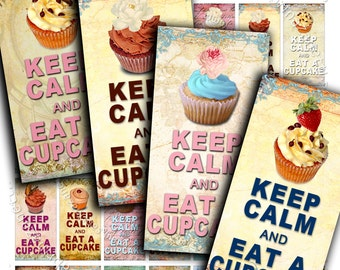 EAT CUPCAKE printable 2x1 inch soldered - Digital collage sheet pendant keep calm download background vintage - do117