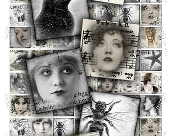 Digital collage EYES in THE FOG 1x1 inch square black white romantic for pendant clipart magnet instant download printable - qu139