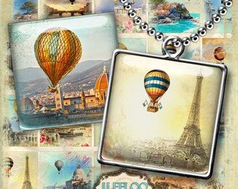 Digital printable ROMANTIC SKY 1.5 inch square sheet digital images - hot air balloon paper goods pendant craft - instant download - qu429