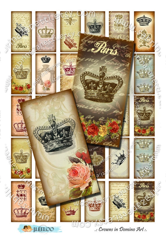 crowns in domino art printable 2x1 inch soldered digital collage sheet pendant france paris. Black Bedroom Furniture Sets. Home Design Ideas