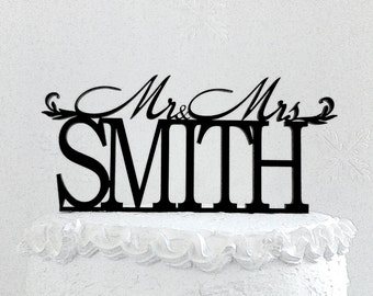 Mr and Mrs Smith Wedding Cake Topper, Personalized with Last Name