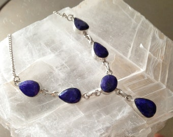 Valentine's Day Gift 30% Off Sapphire tinted Necklace silver plated